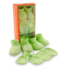 Green 2 Pair Booties & 2 Pair Mittens Gift Set