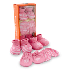 Pink 2 Pair Booties & 2 Pair Mittens Gift Set