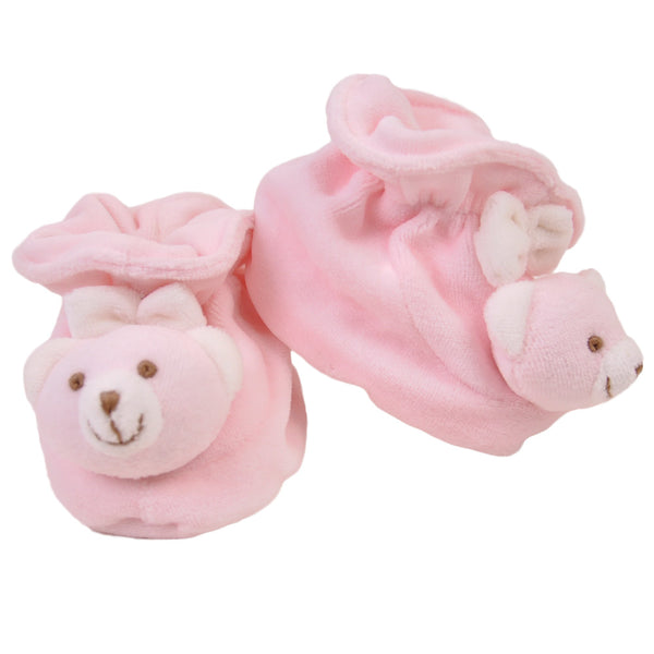 Pink Soft Baby Bear Booties at Twinkie