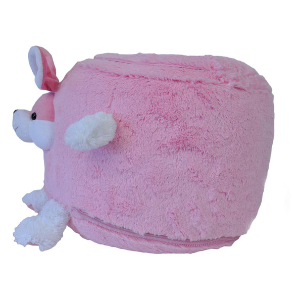 Fuzzy  Bunny Inflatable Stool - Twinkie - Side View