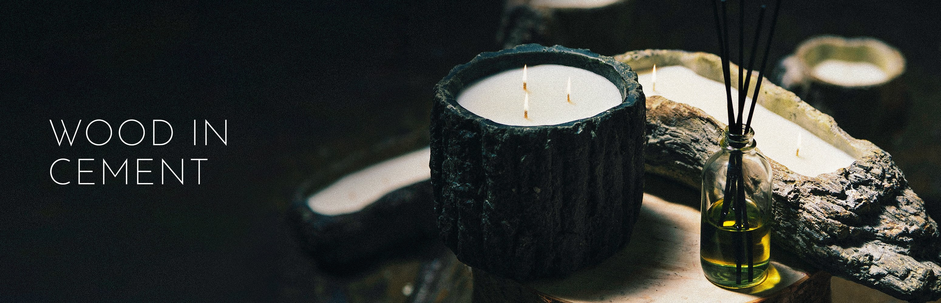 Stone Candles Wood in Cement Collection Banner