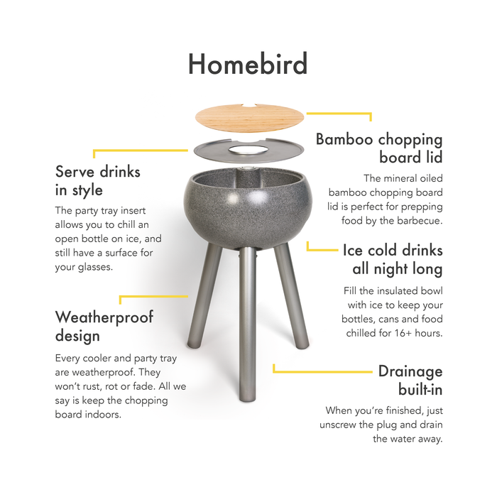 Dark Stone Cooler Table 'Homebird'