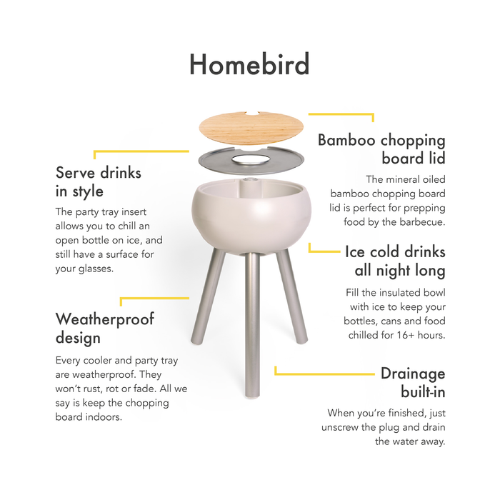 Grey Cooler Table 'Homebird'