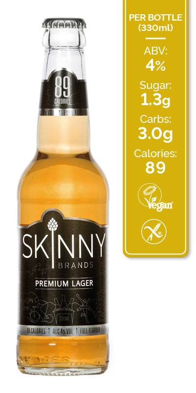 low caloroe beer, low carb lager, skinny lager, low calorie lager, gluten free beer, vegan beer