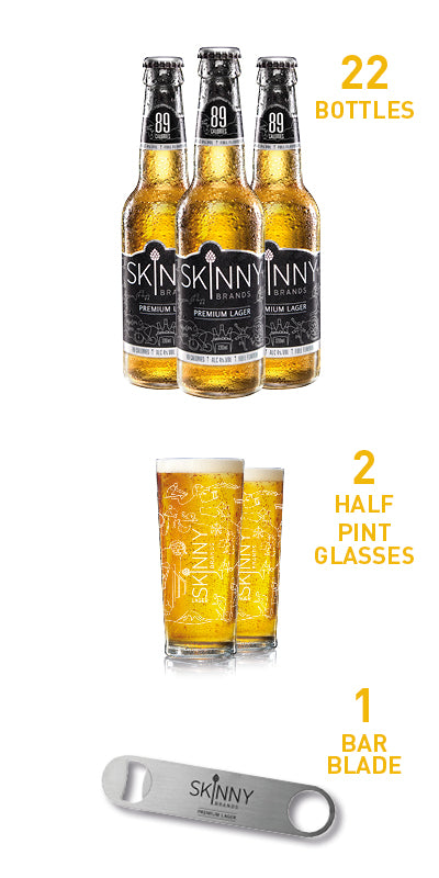 Skinny Lager Bundle (22 Bottles + 2 Half Pint Glasses + Bar Blade)