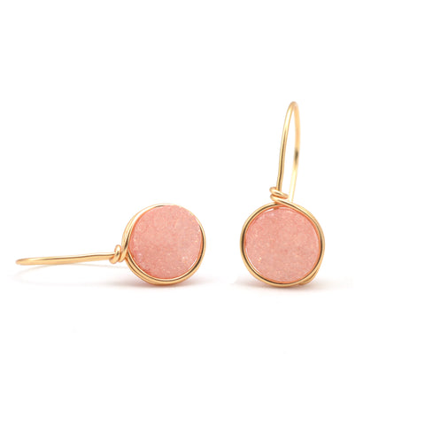 peach druzy earrings