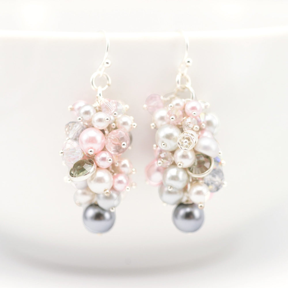 Pearl Cluster Drop Earrings Pink & Grey