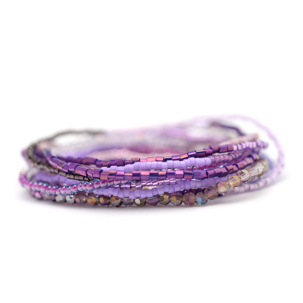 Purple & Silver Stretchy Wrap Bracelet / Necklace