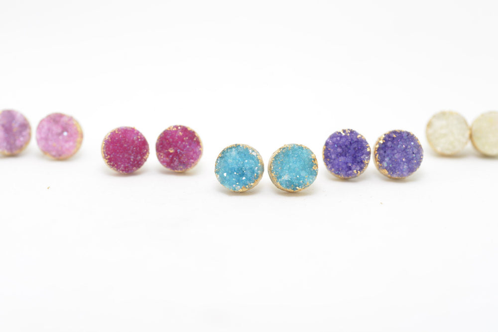 Color options druzy post earrings