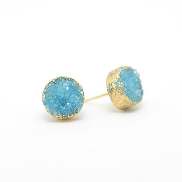 hand plated aqua druzy earrings