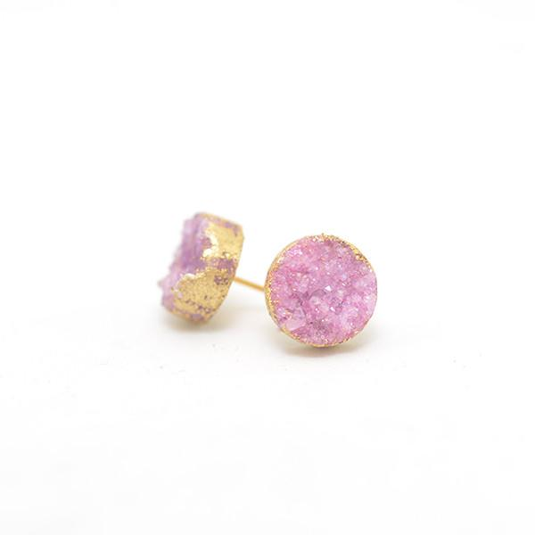 hand plated pink druzy earring in gold