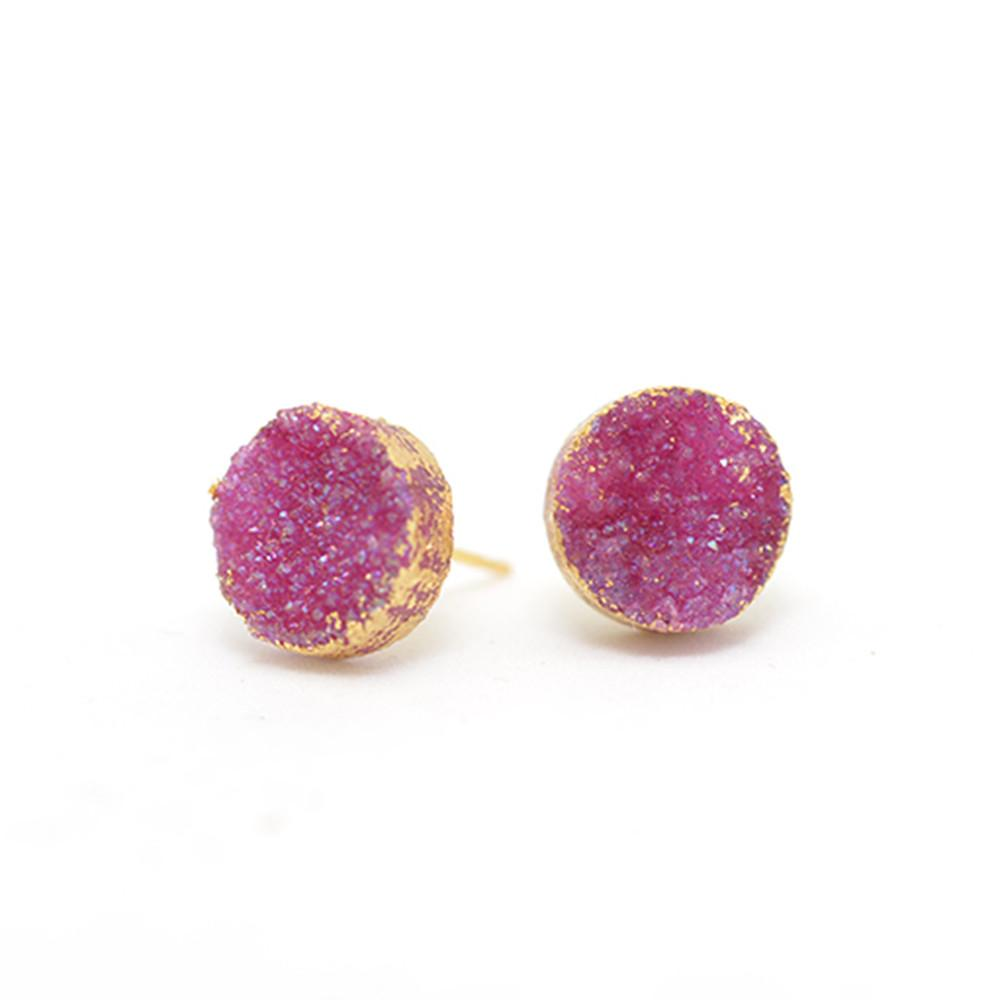 hand plated magenta druzy gold post earrings