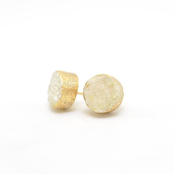 Yellow druzy post earrings