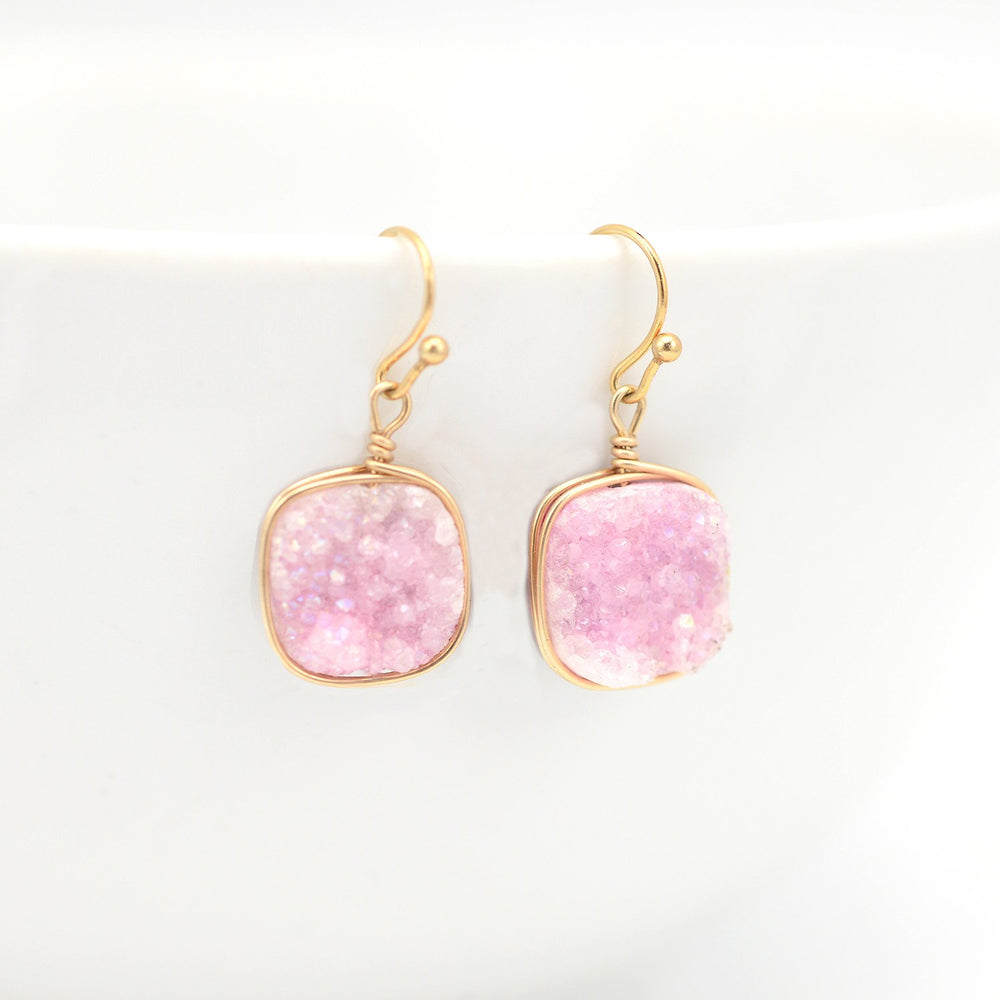 Pink Druzy Earrings Square & Gold