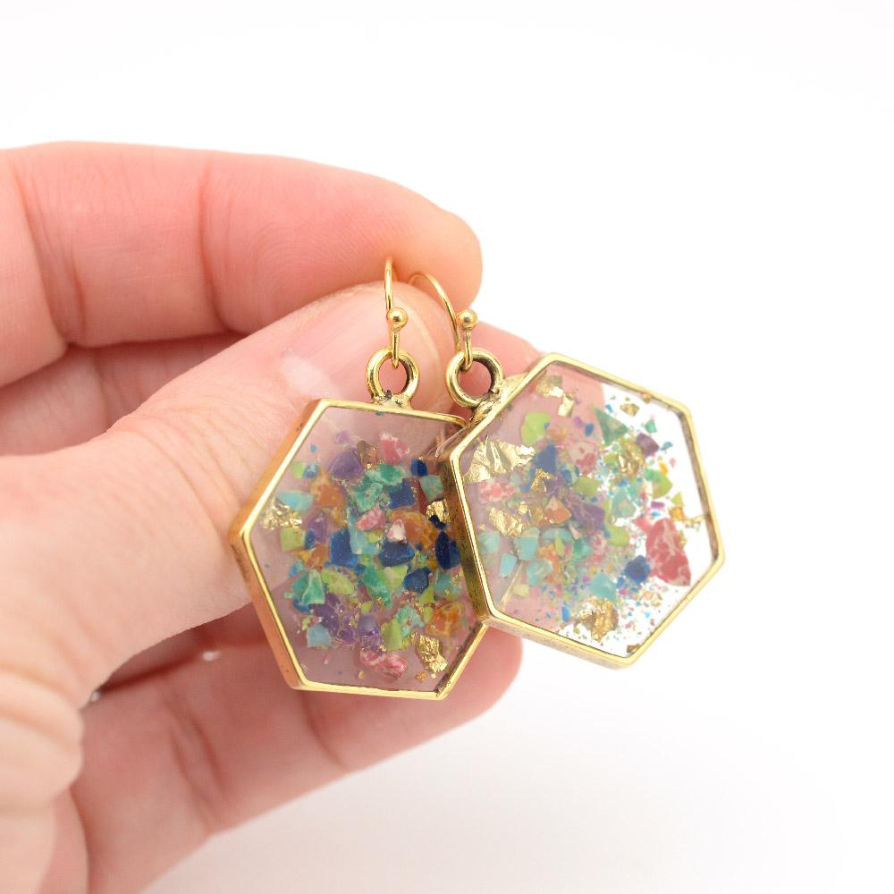 Crushed Gemstone Hexagon Earrings