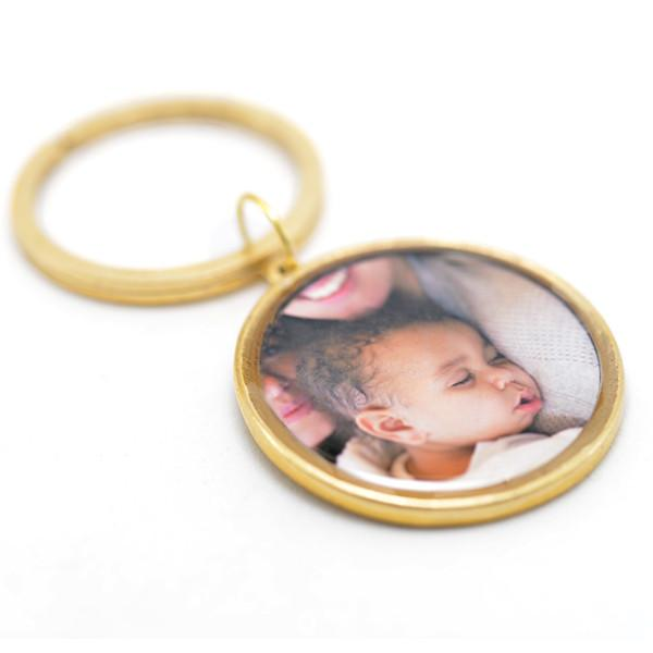 Round Photo Key Chain with Hand Stamped Message on Back