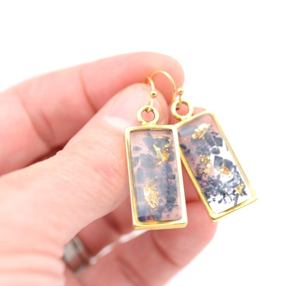 Gold lolite rectangle earrings