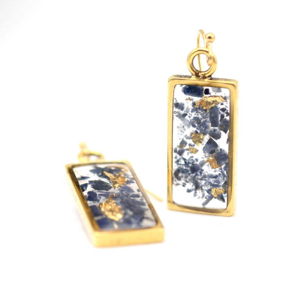 Gold and lolite rectangle earrings