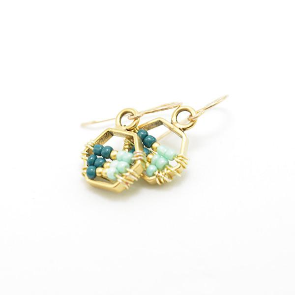 Beaded gold hexagon earrings