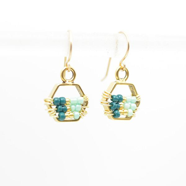Beaded hexagon earrings gold