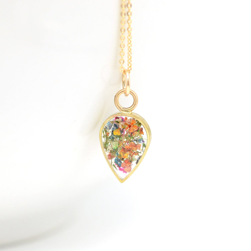 Tiny Teardrop Floral Necklace