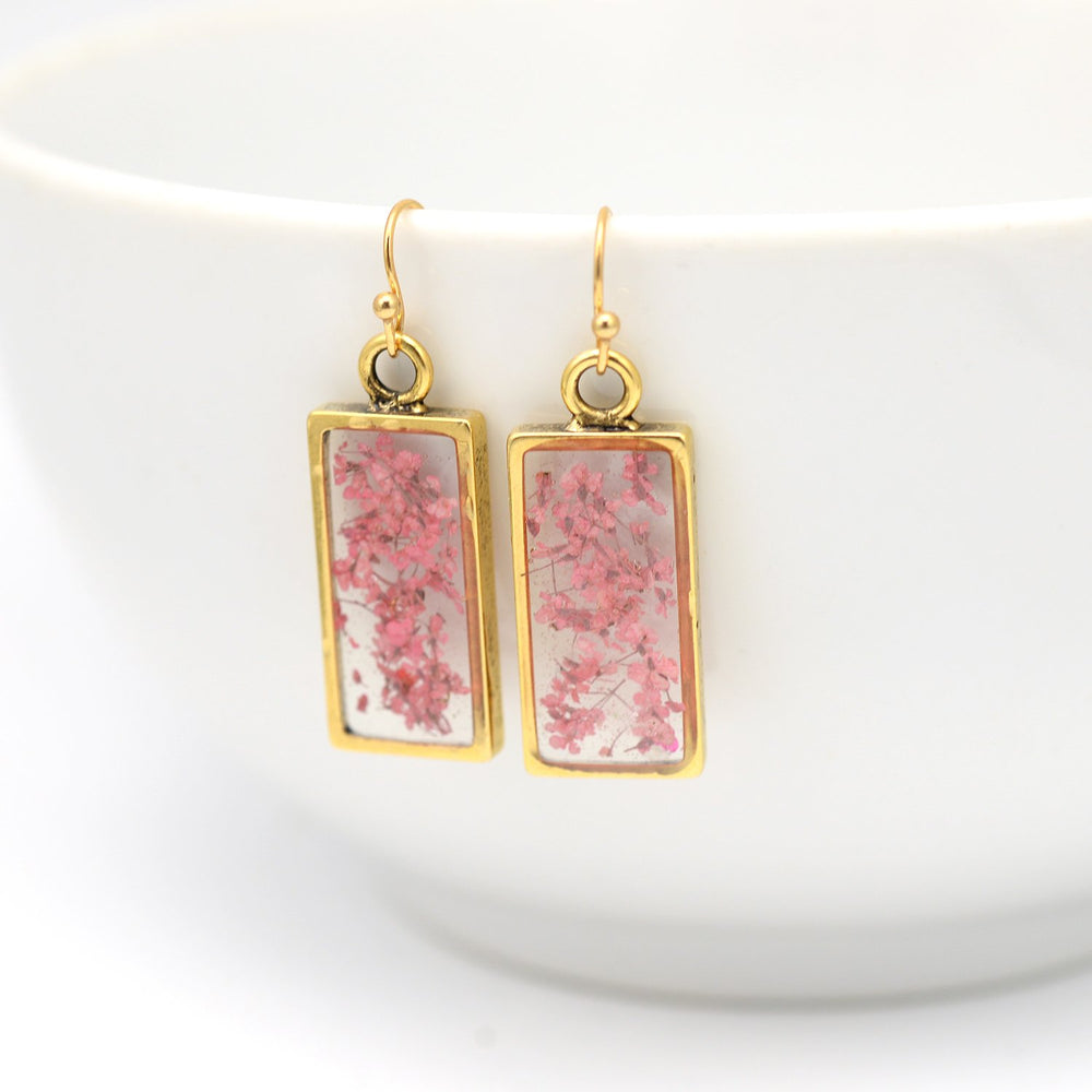 Pink & Gold Flower Earrings
