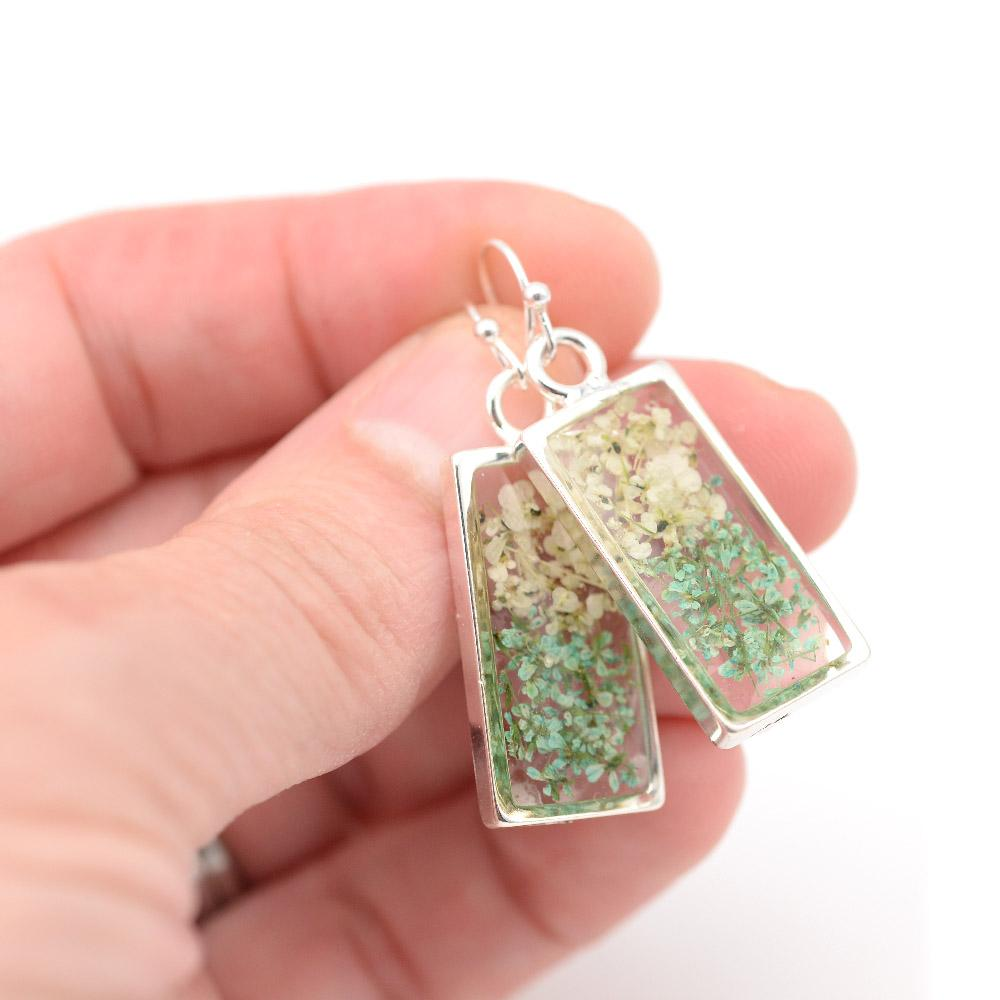 silver flower earrings natural and green