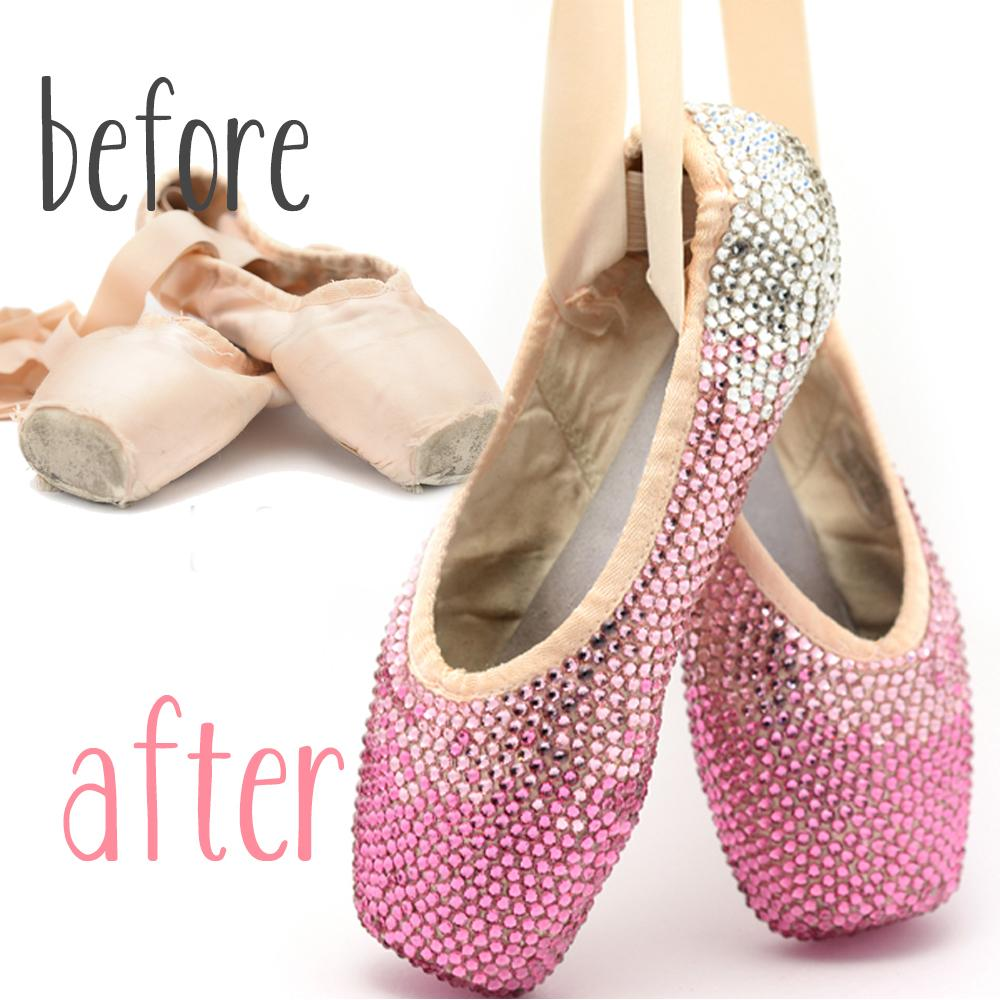 custom crystal covered pointe shoes your pointe shoes transformed