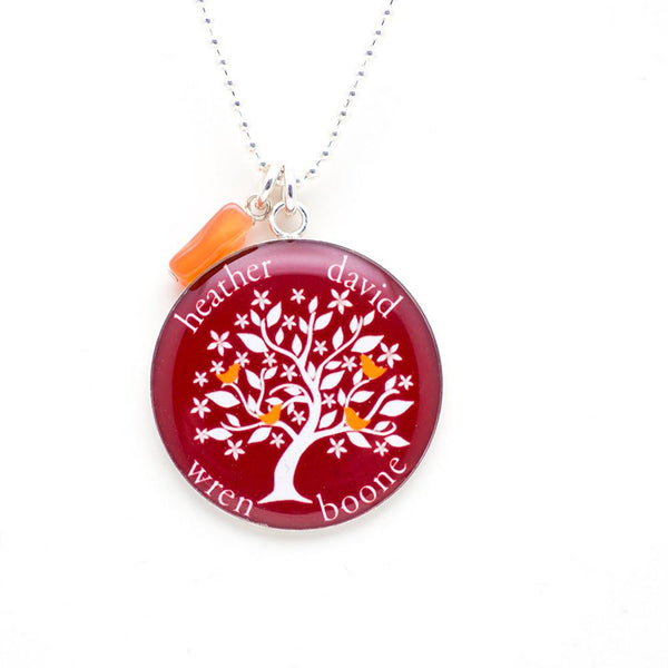 Family tree necklace with gemstone