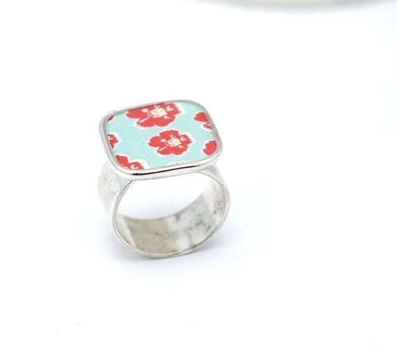 Adjustable Red Posey Ring in Silver