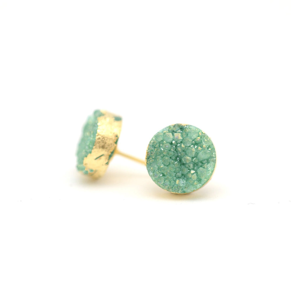 gold plated turquoise druzy post earring