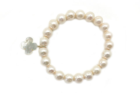 Freshwater Cultured Pearl & Mother of Pearl Elastic Bracelet