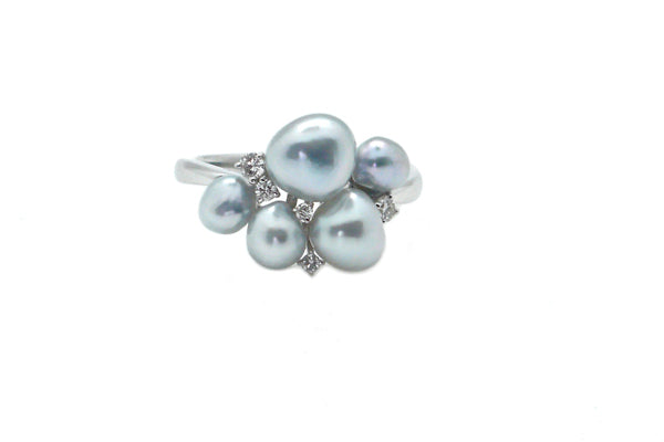 South Sea Keshi Pearl & Diamond Cluster Ring