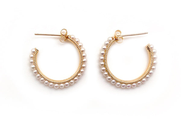 Yellow Gold Seed Pearl Hoops
