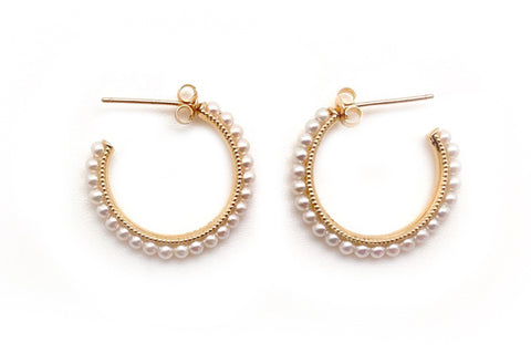 Freshwater Cultured Seed Pearl Hoops - Assorted Sizes
