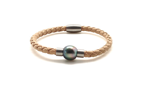 Tahitian Cultured Pearl Leather Magnetic Bracelet - Assorted Colors