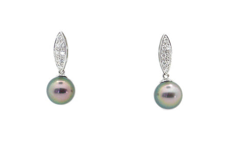 Tahitian Cultured Pearl & Diamond Earrings