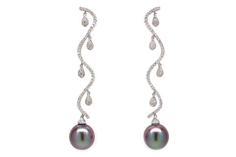 Tahitian Cultured Pearl & Diamond Vine Earrings
