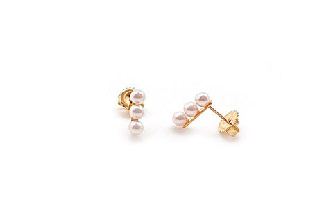Petite Three Pearl Bar Stud Earrings - Assorted Metal Colors