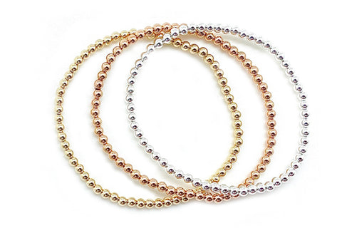 3mm Gold Bead Elastic Bracelets - Assorted Metal Colors