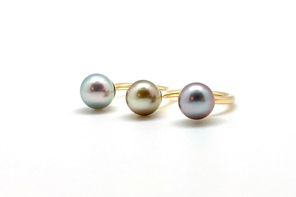 Tahitian Cultured Pearl Two Finger Ring