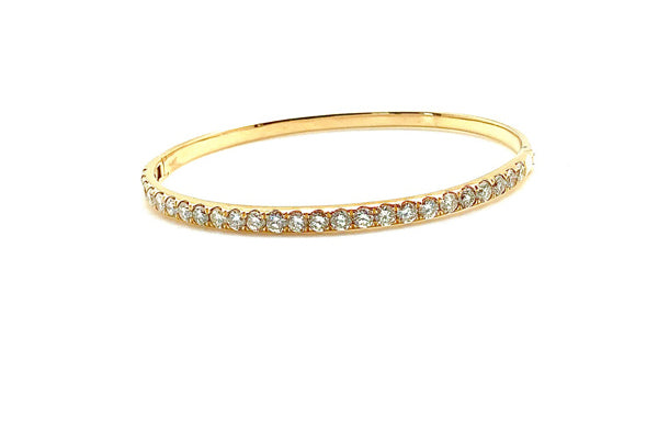 Thick Diamond Bangle Bracelet - Assorted Metal Colors