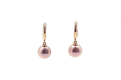 Pink Freshwater Cultured Pearl Dangle Hoop Earrings