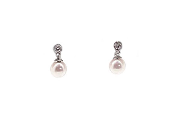 Cultured Pearl & Diamond Dangle Earrings - Assorted Metal Colors