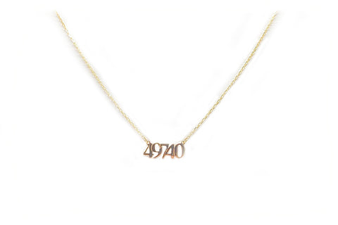 """49740"" Zip Code Necklace"