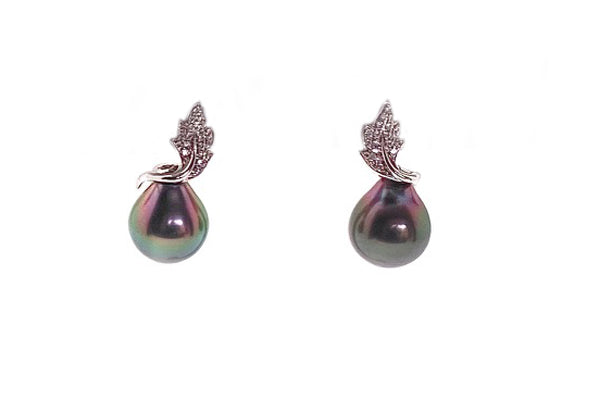 Tahitian Cultured Pearl & Diamond Floral Earrings