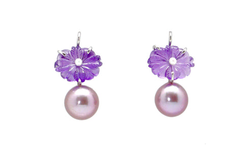 Amethyst & Freshwater Cultured Pearl Flower Earrings