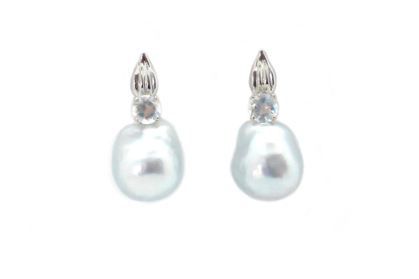 South Sea Cultured Pearl & Moonstone Leaf Earrings