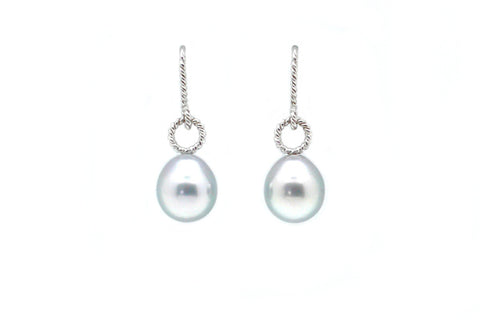 Tahitian Cultured Pearl Twisted Wire Earrings