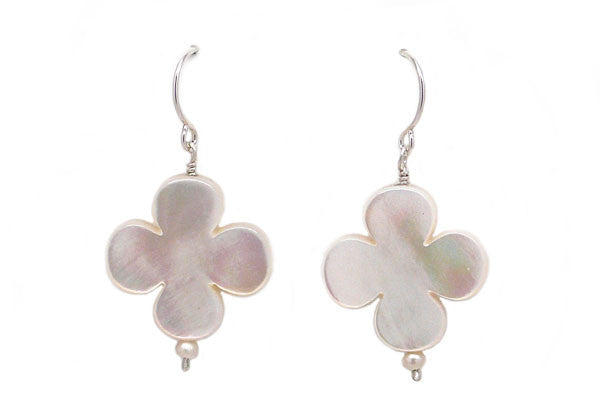Mother of Pearl & Seed Pearl Quatrefoil Earrings - Assorted Sizes & Colors